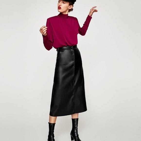 1db8508300 Zara Skirts | Nwt Black Faux Leather Midi Skirt | Poshmark